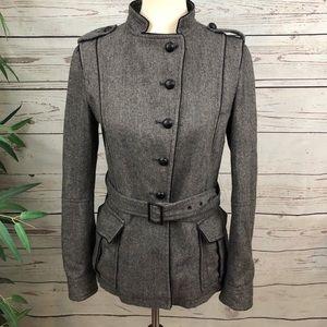 Zara Herringbone Asymmetrical Military Jacket